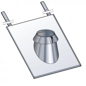 Solin inox ardoise 30 à 45° avec collerette à joint Poujoulat PGI 80/130 Ref.45130172