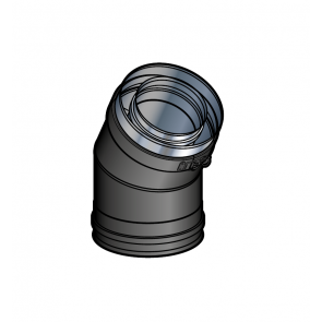 Coude 30° Noir Poujoulat PGI 80/130 Ref.37080711-9030