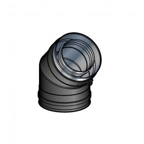 Coude 45° Noir Poujoulat PGI 80/130 Ref.37080721-9030