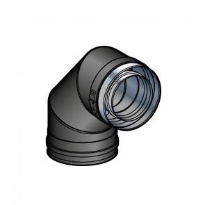Coude 90° Noir Poujoulat PGI 80/130 Ref.37080741-9030