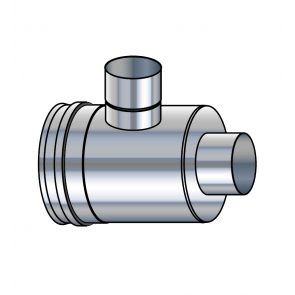 Elément prise d'air horizontal inox réduit  vers buse 80 mm  Poujoulat PGI 80/130 Ref.37080718