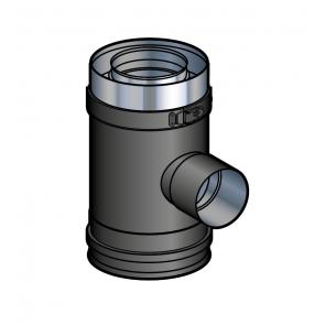 Elément droit prise d'air 90° noir Poujoulat PGI 80/130 Ref.37080708-9030