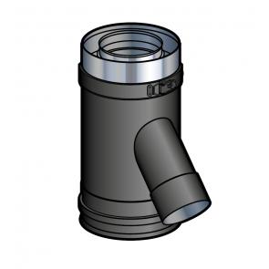 Elément droit prise d'air 135° noir Poujoulat PGI 80/130 Ref.37080789-9030