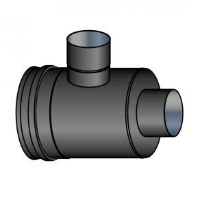 Elément prise d'air horizontal vers buse fumées 100 mm noir Poujoulat PGI 80/130 Ref.37080718-9030