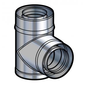Té à piquage concentrique inox  Poujoulat PGI 80/130 Ref.37080775