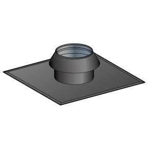 Solin pour terminal vertical toit plat peint noir avec collerette à joint Poujoulat PGI 100/150 Ref.17100171