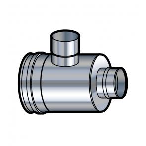 Elément prise d'air horizontal inox réduit  vers adaptateur 80 mm  Poujoulat PGI 100/150 Ref.37100718