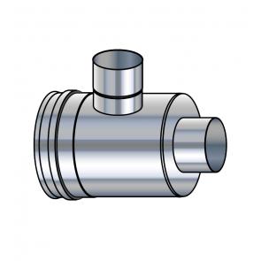 Elément prise d'air horizontal inox réduit  vers buse 80 mm  Poujoulat PGI 100/150 Ref.37100418