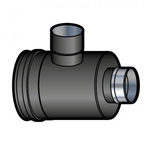 Elément prise d'air horizontal noir vers adaptateur Poujoulat PGI 100/150 Ref.37100406-9030