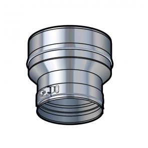 Réduction simple paroi inox (100/80) entre té et adaptateur Poujoulat PGI 100/150 Ref.45100012