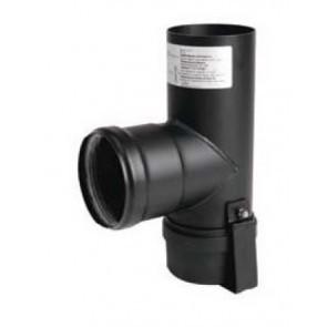 Té noir Diametre  80 mm pour poele a pellets