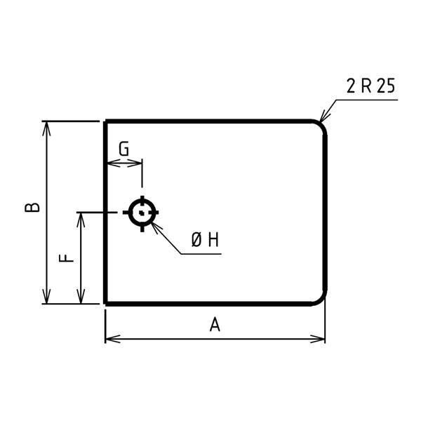Plaque de sol sur mesures deux angles arrodnis percée
