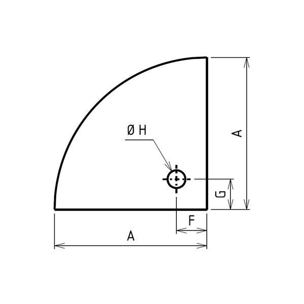Plaque de sol sur mesures quart de cercle percée