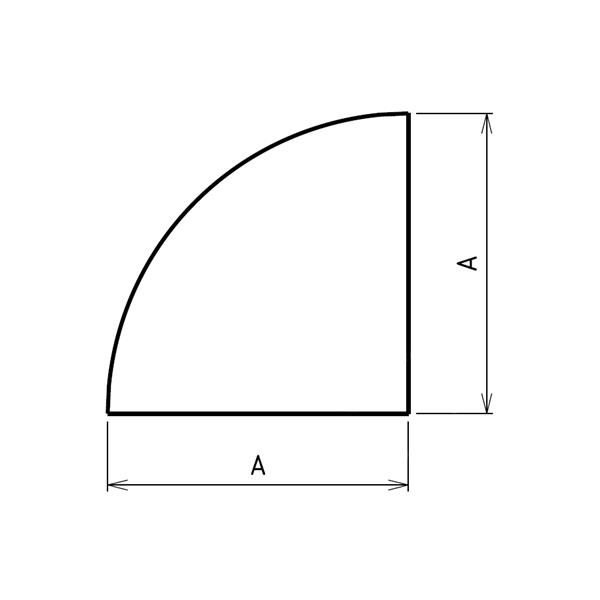Plaque de sol quart de rond sur mesures