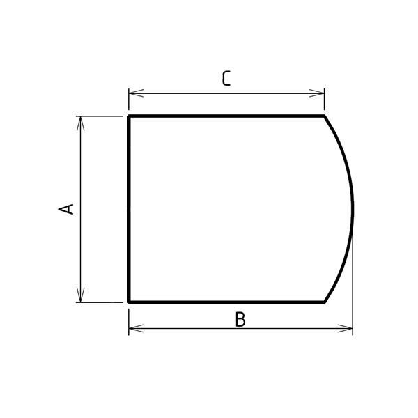 Plaque de sol sur mesures arrondie largeur droite